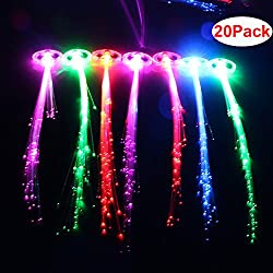 """HOSL 20 Pack 13"""" Long Automatically Change Color Fiber Optic Hair Lights Light Up Hair Flashing Hair Fiber Optic Extension Barrettes Party Favors Glow Toys Supplies"""