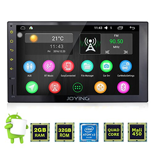 JOYING Android 6.0 Multifunctional Car Stereo Head Unit with Bluetooth Double Din 2GB Car GPS Navigation Aftermarket Radio for Car with 7' Full Capacitive Touch Screen