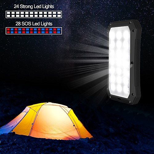 Solar Charger with Strong LED Flashlight, 10000mAh Solar Phone Charger with Dual USB Port, Outdoor Portable Solar Power Bank Built-in Strong 52LED Flashlight for Camping, Travelling & other Activities by URWILL (Image #1)