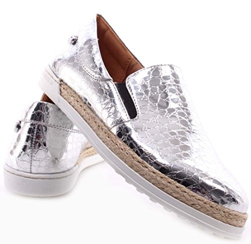 Zapatos Mujer Sneakers LOVE MOSCHINO Slip On Roma Cocco PU Silver Argento Plata