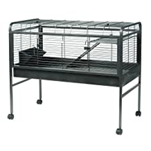 Living World Knock-Down Rabbit Cage, Large, Antique Silver
