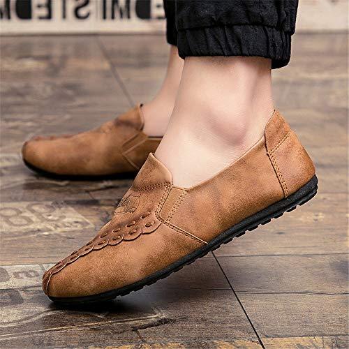 Color Zapatos de Marrón Qiusa de marrón Hombre EU para Negros Color Oscuro tamaño Gris Antideslizantes Suave 43 Suela Mocasines dOUxUf5qw