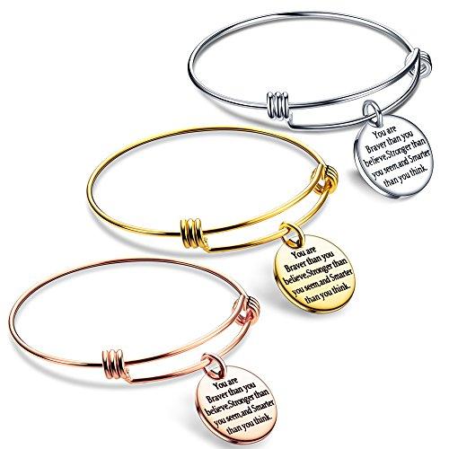 lauhonmin You are Braver Stronger Smarter Than You Think Inspirational Expandable Bangle Bracelet Women