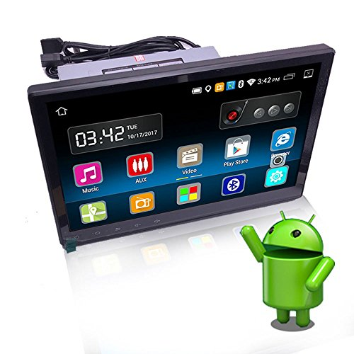 YODY 10.1 Inch Single Din Android 6.0 Car Stereo with Bluetooth WiFi GPS Navigation Mirror Link HD Capacitive Touch Screen AM/FM/RDS Car Radio Player Free Backup Camera and Microphone