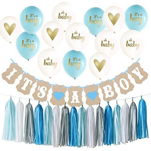 Price comparison product image Baby Shower Decorations for Boy Kit It's A Boy Ballons It's A Boy Banner Blue White Grey Tassel Garland for Boy Nursery room Decor Kit Party Decorations Boy Baby Shower Decorations