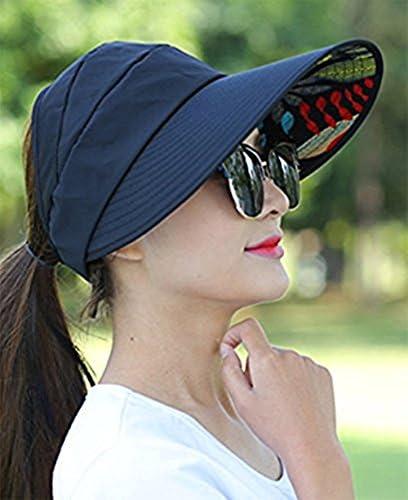 plegable Sombrero de playa con visera plana Fablcrew color negro ajustable y protecci/ón UV
