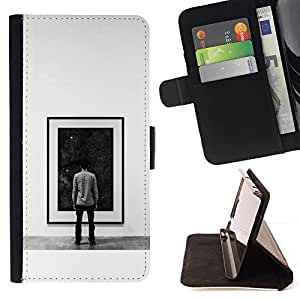 Momo Phone Case / Flip Funda de Cuero Case Cover - Pintura Espacio Profundo;;;;;;;; - Motorola Moto E ( 2nd Generation )