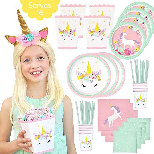 Unicorn Birthday Party Supplies Set - Unicorn Party Favor Popcorn Boxes, Unicorn Plates, Cups, Napkins, Straws - Serves 16 - Bonus Unicorn Headband - Baby Shower - 113 Piece Unicorn Party Decorations