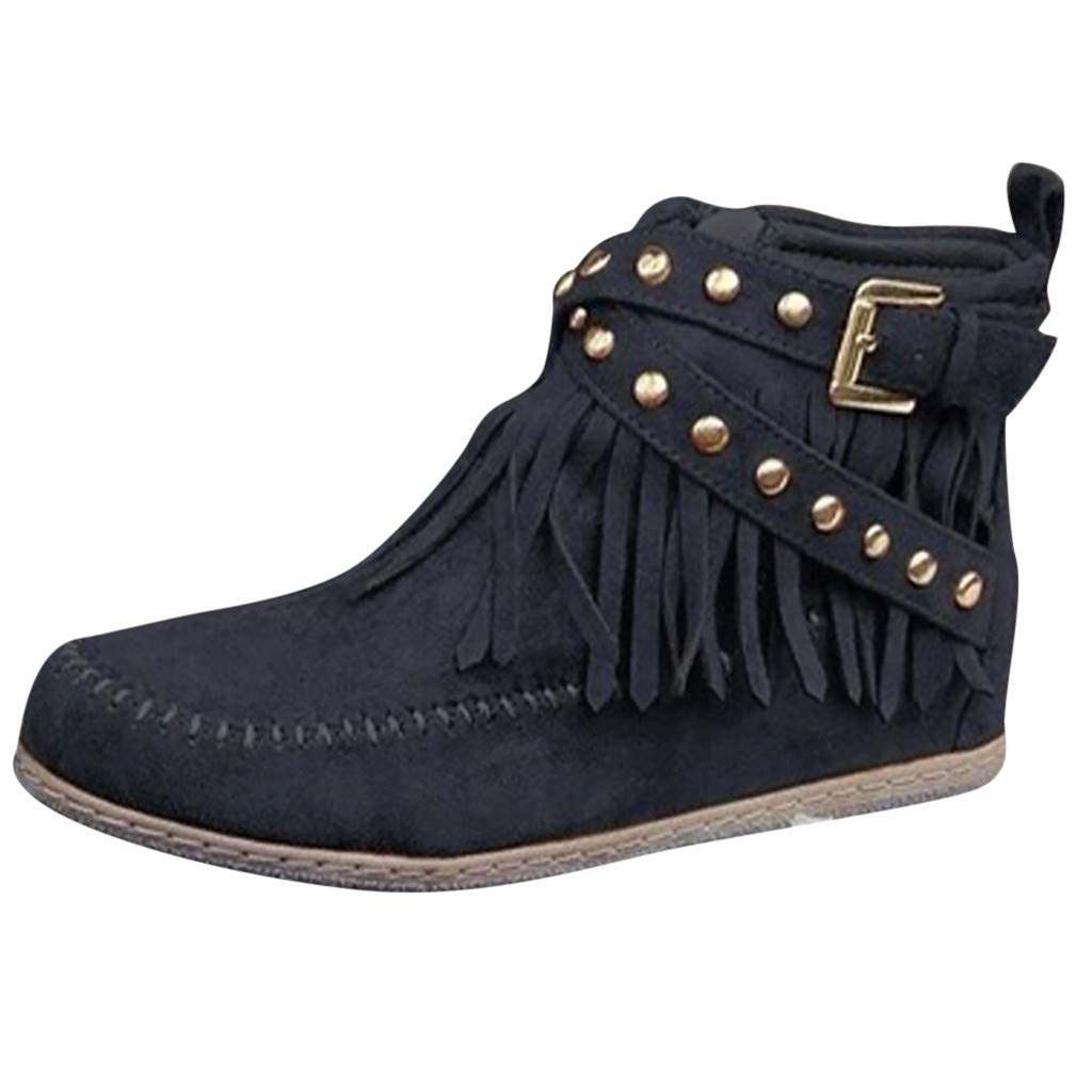 Women's Ankle Boots,Ladies Solid Casual Fashion Slip-on Round Toe Solid Flat Tassels Rivet Bare Short Booties Boot Shoes by cobcob Clearance Shoes