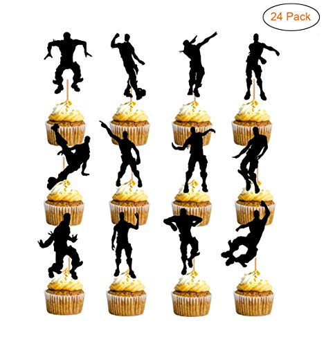 24 Pieces Video Game Theme Birthday Cupcake Toppers Dance Floss Cake Decoration Party Supplies Perfect for Kids Birthday Parties, School Party, Game Night]()
