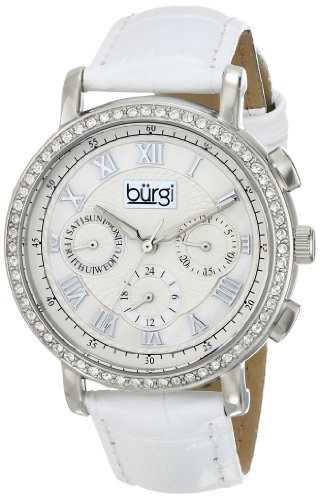 Burgi Women's BUR087SSW Round Crystal Embellished Silver-Tone Watch with White Leather Strap