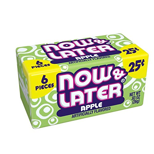 Now & Later Original Taffy Chews Candy, Apple, 0.93 Ounce Bar, Pack of 24