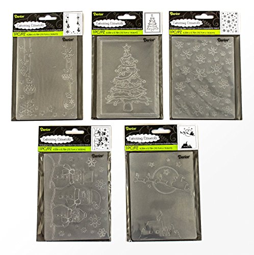 Darice Embossing Folders for Card Making Christmas Bundle - 5 Holiday Designs for Card-Making, Scrapbooking or Gift-Giving by Unknown