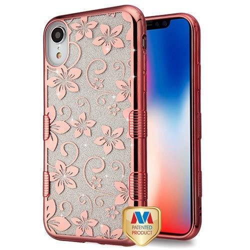 Electroplating Rose Gold Hibiscus Flower (Transparent Clear) Full Glitter TUFF Hybrid Protector Cover (with Package) for Apple iPhone XR