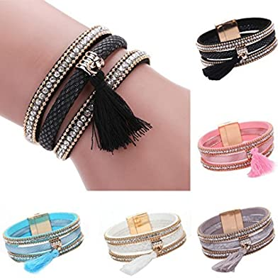 DENER Unsex Woven Bohemian Magnetic Clasp Tassel Wrist Chains Braided Handmade Wrap Leather Cuff Bangle Wristband Rope Stretch Bracelet