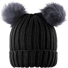 Novawo Two Pom Pom Hat Lovely Beanie Winter Warm Knit hats Slouchy Beanie for women