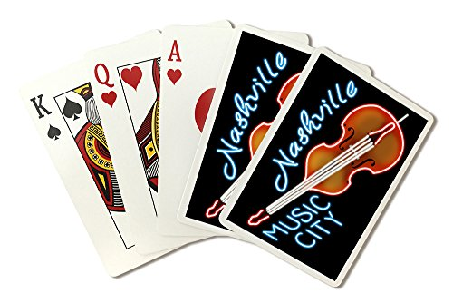 (Nashville, Tennesse - Neon Cello Sign (Playing Card Deck - 52 Card Poker Size with Jokers))