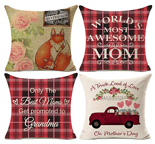 Kithomer Set of 4 Mother's Day Buffalo Plaids Farm Fresh Truck Throw Pillow Cover Retro Farmhouse Decor Cushion Covers Square 18x18 Inch Summer Decorations