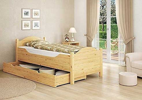 Holzbett rustikal hoch  Seniorenbett extra hoch Bettkasten 100x200 Kiefer Holzbett ...