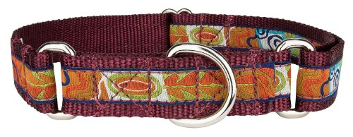 Country Brook Design Fall Frenzy Woven Ribbon on Burgundy Martingale Dog Collar Limited Edition - Large