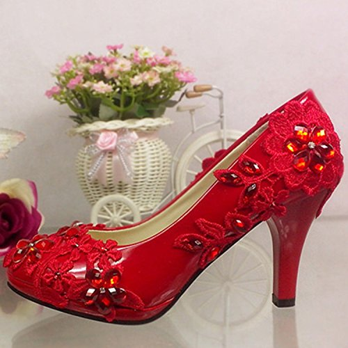 Rouge JINGXINSTORE Maille rouge Cristal Mariage High-Heeled Chaussures imperméables Suite Nuptiale UK3.5