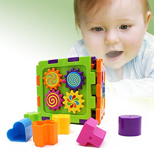 Baby's First Blocks Geometric Square Shape Sorter Cube Toy for Kids Baby Square