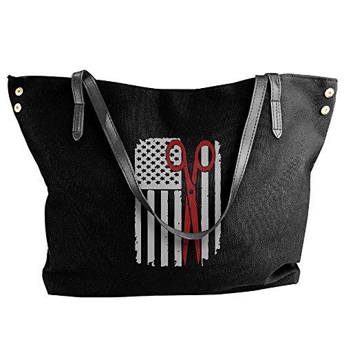 Women's Canvas Large Tote Shoulder Handbag Hair Stylist Scissors Hairdresser Usa Flag-1 Handbags by Cotyou-6