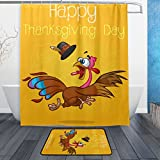 ALAZA Set of 2 Happy Thanksgiving 60 X 72 Inches Shower Curtain and Mat Set, Turkey Leaves Waterproof Fabric Bathroom Curtain and Rug Set with Hooks