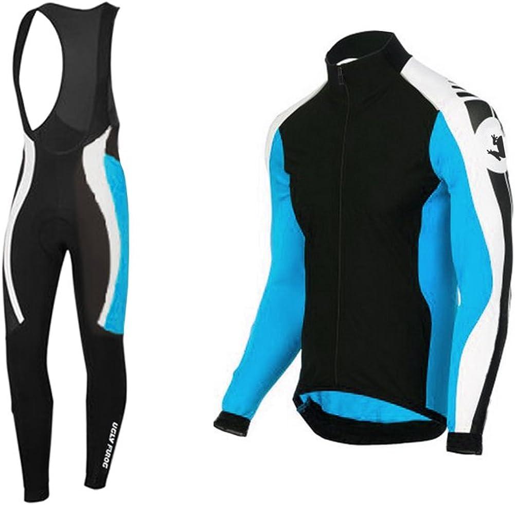 Uglyfrog 2019-2020 New Winter Fleece Racing Mens Outdoor Sports Long Sleeve Winter Cycling Jerseys Suit Sportswear Breathable Long Sleeve Cycling Jersey Biking Top+Long Bib Pants