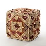 Saro Kilim Design Jute Wool Blend Pouf Ottoman