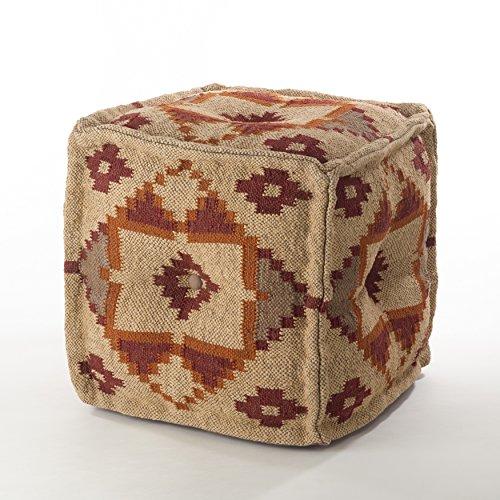 Design Wool Blend - Saro Kilim Design Jute Wool Blend Pouf Ottoman