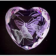 Hand Engraved Purple Paperweight Butterflies, Office Decor, Home Decor, Personalized Crystal Butterfly, Heart Paperweight Hand Engraved, Vintage Crystal Paperweight, Rosenthal Paperweight Engraved