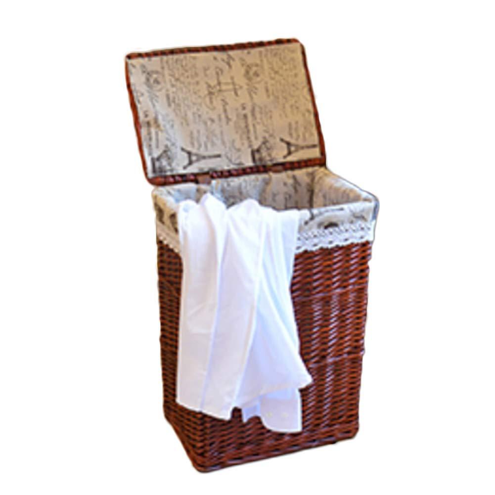 NrbcTse Tejido a Mano ecol/ógico Cesta de Mimbre,Cestas de Almacenamiento de Ropa Sucia Caja de almacenaje de Libros con Forro y la Tapa del Juguete-A 30x25x37cm