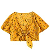 Short Sleeve Tee Blouse for Women,Amiley Women Chiffon Short Sleeve Crop Top Shirts V Neck Tie Knot Front Printed Blouse (Small, Yellow)
