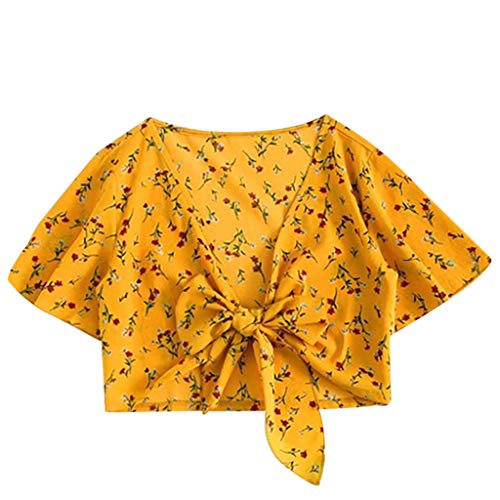 Keliay Womens Tops for Summer,Women's Ladies Print Sexy Short Sleeve Bandage Hollow Shirt Pullover Tops Yellow