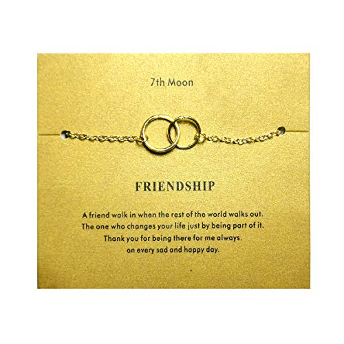 7th Moon Friendship Minimal Dainty Bracelet Tiny Cross Freshwater Pearl Heart Circle Bar Handmade Brecelet with Gift Card (Double Link)