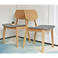 Edloe Finch EF-Z4-DC010O August Mid Century Modern Dining Chairs Set of 2, Light Grey Fabric, White Oak Legs