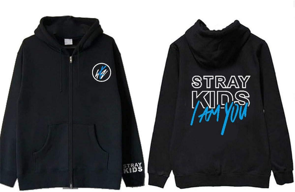 FY KPOP Stray Kids YO Soy Usted /álbum Sudadera con Capucha con Cremallera Sudaderas para Oto/ño Invierno Chaqueta Negra Sudadera con Capucha