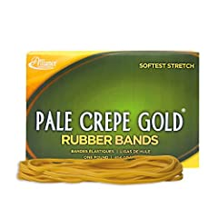 Alliance Rubber's Pale Crepe Gold rubber bands feature the softest stretch and the highest rubber content. A higher rubber content means a lighter band, greater stretchiness and increased longevity. You receive more bands per pound and can dr...