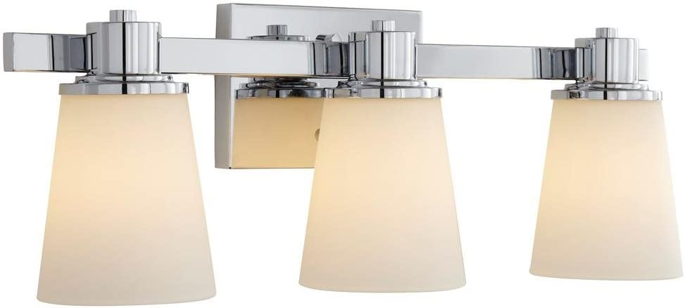 Home Decorators Collection 3-Light Chrome Bath Vanity Light with Bell Shape Etched White Glass