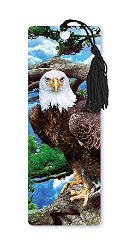 Dimension 9 3D Lenticular Bookmark with Tassel, American Bald Eagle in Tree (LBM021) by Dimension