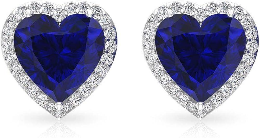 Aretes de diamantes difusos con certificado IGI de 3 quilates, solitario azul, piedras preciosas, IJ-SI, claridad de color, pendientes de diamante, corazón de oro para niña, tornillo hacia atrás