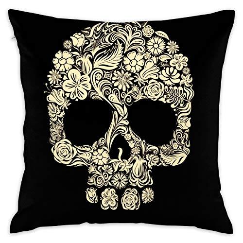 Feim-AO Halloween Gold Floral Skull Decorative Throw Pillow Square (16