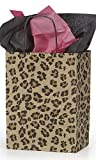 """Medium Leopard Brown Print Paper Shopping Bag.• 8"""" X 4 ¾"""" X 10 ¼"""" (Cub) • Premium Design • Natural Interior Color • Case of 100.leopard Brown Shopping Bags Are an Ideal Choice for Those Who Want to Take a Walk on the Wild Side! A Stylish Packaging Solution Is a Must for Today's Boutiques and Specialty Shops. This Bag Is an Ideal Way to Incorporate Leopard Animal Print Into Your Color Palette."""