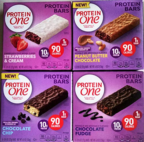PROTEIN ONE Protein Bars, NEW for 2018! Ultimate Variety 4 Pack + FREE box of fruit flavored drink mix, 1 box each of: CHOCOLATE FUDGE, CHOCOLATE CHIP, STRAWBERRIES & CREAM, PEANUT BUTTER CHOCOLATE. - Mix 1 Protein