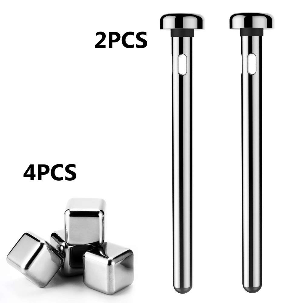 4PCS Stainless Steel Ice Cube & 2PCS Beer Chiller Stick, Keeps Bottled Drinks Beer Wine Water Cooling