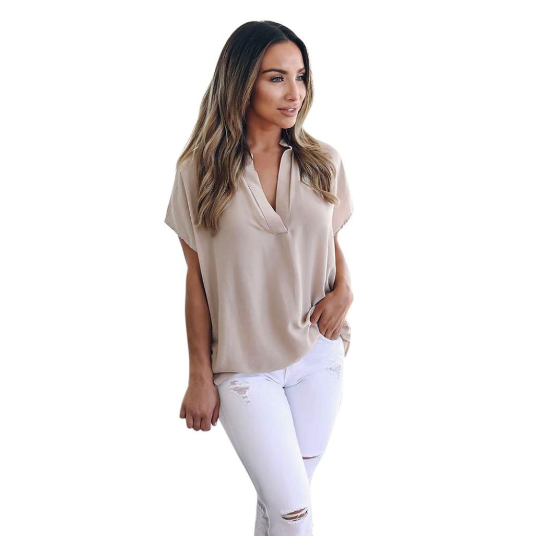 Alixyz Summer Chiffon Short Sleeve T-Shirt Women Casual Solid Color Tops Blouse (Khaki, M)