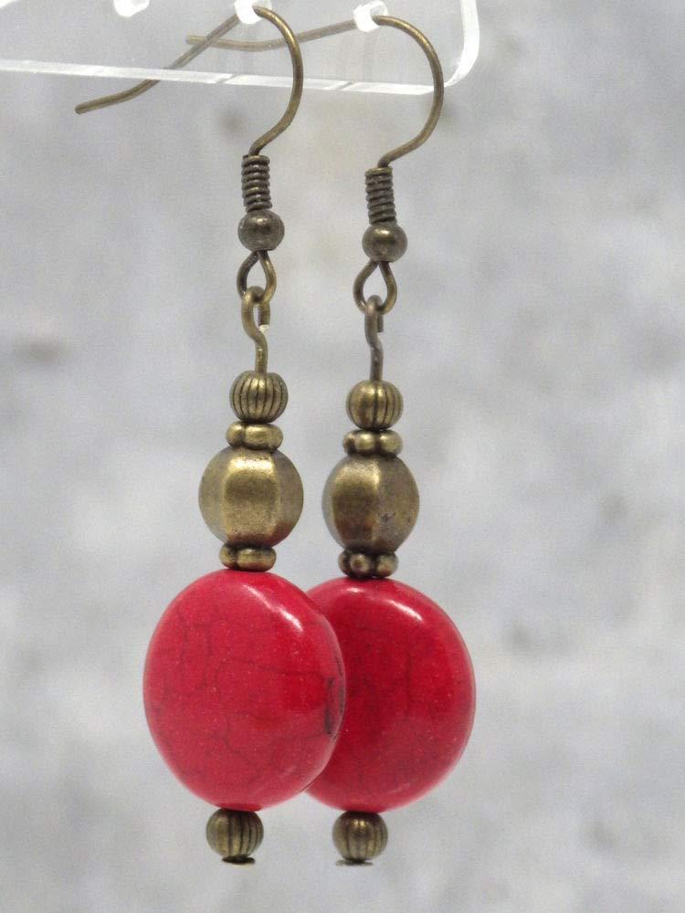 Pendientes Zen en bronce antiguo y perlas rojas planas en turquesa reconstituida