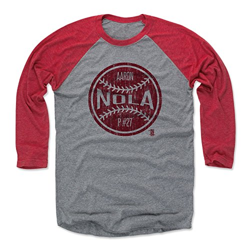 500 LEVEL Aaron Nola Baseball Tee Shirt Medium Red/Heather Gray - Philadelphia Baseball 3/4th Sleeve - Aaron Nola Ball R