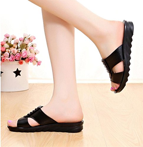 Womens Fold Leather Mid Heel Wedges Mother Sandals Simple Slippers Plus Size Black vYshmT